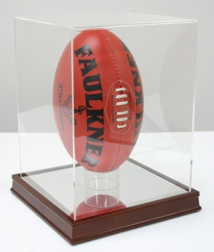 FOOTBALL DISPLAY CASE With MIRROR BOTTOM VERTICAL Display Stands Fascinating Football Stands Display